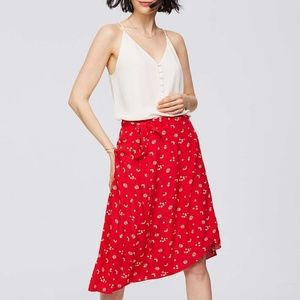LOFT Floral Midi Wrap Skirt